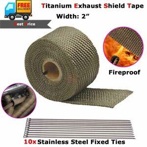 "2"" Titanium Exhaust Shield Tape Header Heat Insulation Wrap Steel Ties 16.5ft"