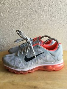Nike Air Max Plus Women's  Grey Solar Red Black Running Shoes SZ 8.5 Pre-Owned