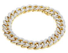 Men's Solid 10K Yellow Gold Genuine Diamond 12MM Miami Cuban Bracelet 5 1/2 CT 8