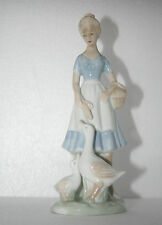 Vtg Art Pottery Blue & White Porcelain Young Woman Basket Feeding Geese Figurine
