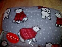 NEW King SUNBEAM POLAR BEAR SHEET SET Arctic Polar FLEECE Gray  Red  Cozy WARM