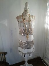 Vtg 1920,s style Gatsby white beaded gold sequined wedding flapper dress size 10