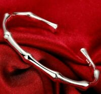 18K White Gold Plated Bamboo Cuff Adjustable Bangle Fashion Bracelet #B233