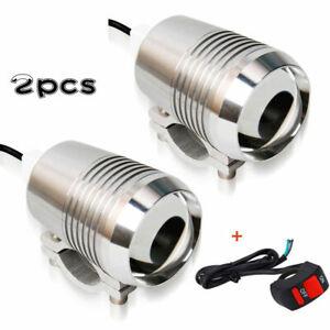 2stk +Schalter 30W Motorrad Zusatzscheinwerfer LED Scheinwerfer Tagfahrlicht
