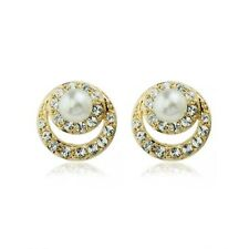 LOVELY ITALINA 18K GOLD PLATED GENUINE CUBIC ZIRCONIA AND PEARL STUD  EARRINGS