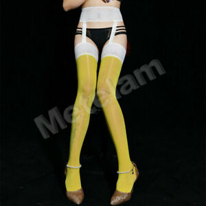 Lace Shiny Glossy Sheer Thigh High Stockings with Garter Belts Pantyhose Hosiery