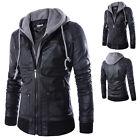 Stylish Slim Fit Hooded Men's Black Motorcycle PU Leather Jacket Coat Outwear
