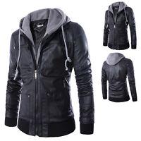 PU Leather Men's Motorcycle Slim Biker Hooded Jacket Coats Outwear Overcoat New
