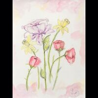 Maria Scalf Floral Flowers Wild ORIGINAL PAINTING Watercolor 9x12 Expressionism
