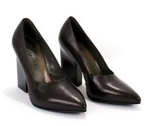Gibellieri LP36 Eggplant Leather Geometric Heel Pumps 37.5 / US 7.5