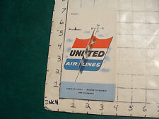 vintage HIGH GRADE travel Paper: UNITED AIR LINES 1950'S TICKET HOLDER