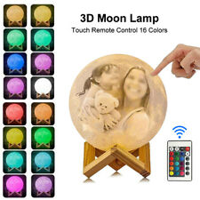 16 Colors Personalised Photo 3D Moon Lamp Printed Night Light W/ Battery 8-20CM