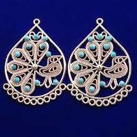 55x38x4mm 2Pcs Carved Tibetan silver Wrapped Turquoise Pendant Bead  NN618