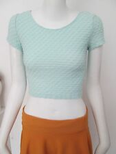 DIVIDED - SPEARMINT C-NECK TEXTURED CROPPED T-SHIRT  Size SMALL - POLYESTE BLEND
