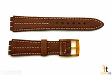 18mm Men's Brown Leather w/ White Stitches Band Strap fits SWATCH watches