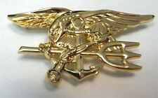 US NAVY SEALS / SEAL TEAM EXTRA LARGE GOLD COLORED TRIDENT PIN 2.75 INCHES