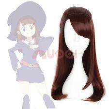 Little Witch Academia Kagari Atsuko Akko Brown Red Straight Ponytail Cosplay Wig