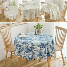 Cotton Round Sketch Flower Print Tablecloth Living Room Fabric Table Cover Decor
