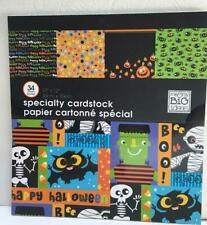 scrapbook crafting paper HALLOWEEN 34 sheets 12X12 pumpkins spiders haunted hous