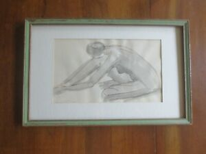 """Framed & Matted GRACEFUL Signed NUDE Shadowed SKETCH DRAWING - 11"""" x 17"""""""