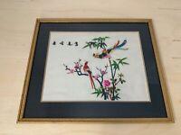 Asian Silk Art | BIRDS FLOWERS | Needlepoint | Embroidery | Stitched Wall Art 3