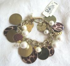 Boho Chic Leopard Hammered Gold Tone Pearl Charm  Bracelet NWT 65% Off