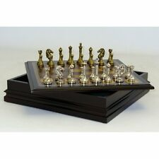 Metal Staunton Chess Set with Wood Inlaid Chest, 2.5 in.