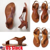 US Women's Gladiator Sandals Flat Heel Open Toe PU Leather Flip Flops Shoes Size