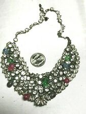 Rare Antique Fabulous Rhinestone & Glass Teardrop Dangles Bib Necklace