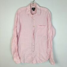 Neiman Marcus Men's Pink Longsleeve 100% Linen Button Front Shirt Size Medium