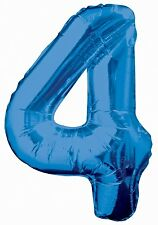 Age 4 Blue Happy Birthday Boys Party Decorations 4th Banner Bunting Balloons Large Number Foil Balloon