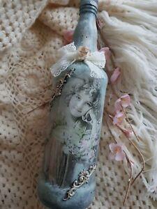 Vintage decoupage bottle,shabby  chic decorative glass, handmade ,vintage girl
