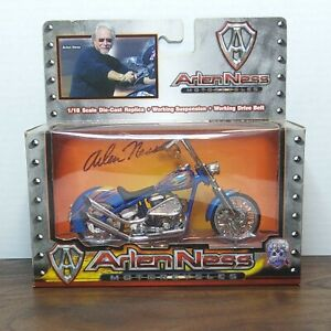 Collectable Arlen Ness Motorcycle 1/18 Scale Die Cast Replica Blue.