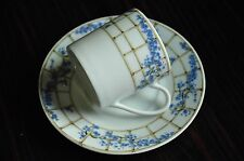 Tiffany China Trellis Blue and White   Demitasse espresso Cup and Saucer