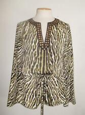 MICHAEL MICHAEL KORS SZ 4 SAFARI GREEN ANIMAL PRINT EMBELLISHED NECKLINE BLOUSE