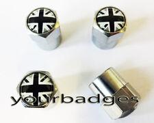 Chrome Metal British Monochrome Union Jack Flag Valve Caps Tyre Dust Caps