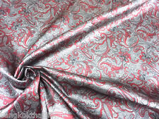 "PAISLEY VISCOSE RAYON GRAY RED 60""W FABRIC SHIRT SKIRT DRESS TABLECLOTH SHEET"