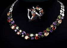 18k White Gold GF Necklace Earrings Set made w Swarovski Crystal Multicolor