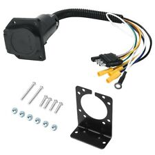 4-Way Flat To 7-Way Round Rv Vane Wiring Adapter Plug For Car Truck Trailer Hitc
