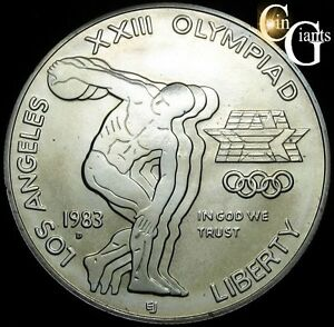 1983-D Los Angeles Olympics Commemorative BU Silver Dollar US Coin & Capsule $1