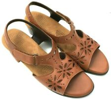 SAS Women's Size 8 N Narrow Brown Leather Sunburst Floral Cutouts Sandals Shoe