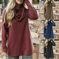 Women's Cowl Neck Long Sleeve Casual Loose T-Shirt Blouse Pullover Tops Tunic