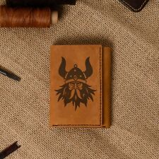 Men's Viking Head -4 Natural Genuine Leather Blocking Trifold Wallet MHLT_07