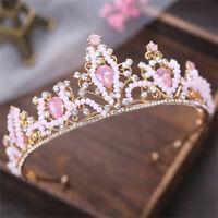 Deartiara Pink Crystal Princess Tiara Crown Wedding Birthday Party Headpiece