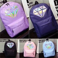 Women's School Backpack Travel Shoulder Bags Rainbow Holographic Diamond Satchel