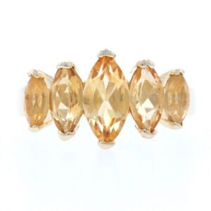 Sterling Citrine Five-Stone Ring - 925 Gold Plated Marquise Cut 2.00ctw Size 8