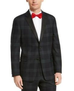 $450 Tommy Hilfiger Modern-Fit THFlex Stretch Plaid Suit Jacket Green 42 R/M37.5