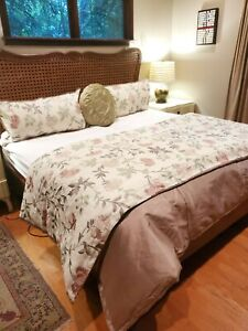 "Custom Shimmring Mauve ""Pink"" Reversible King Duvet w Comforter Embroidered Sham"