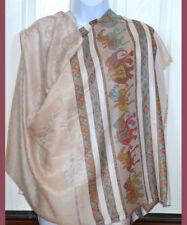 Beige Pashmina Silk blend Shawl,Stole,Wrap Paisley Elephant Design from India
