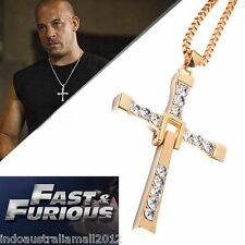 THE FAST and The FURIOUS 7 Dominic Toretto's CROSS Gold Pendant Chain Necklace